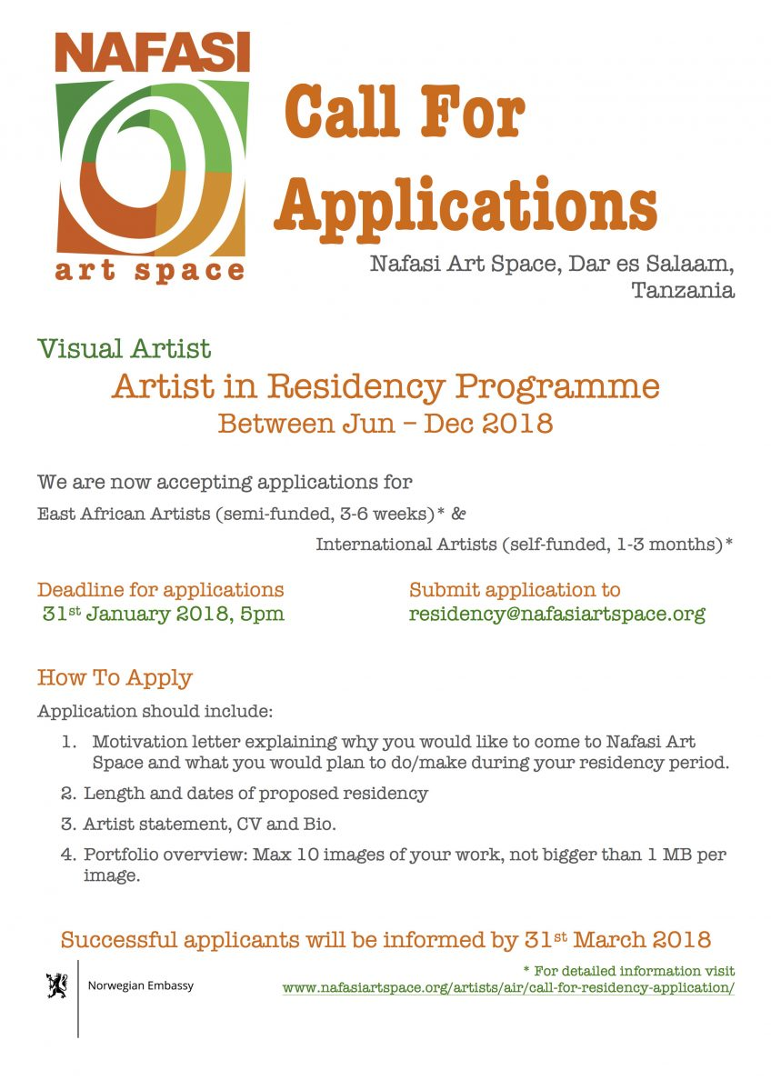 ARTIST IN RESIDENCY – CALL FOR APPLICATIONS