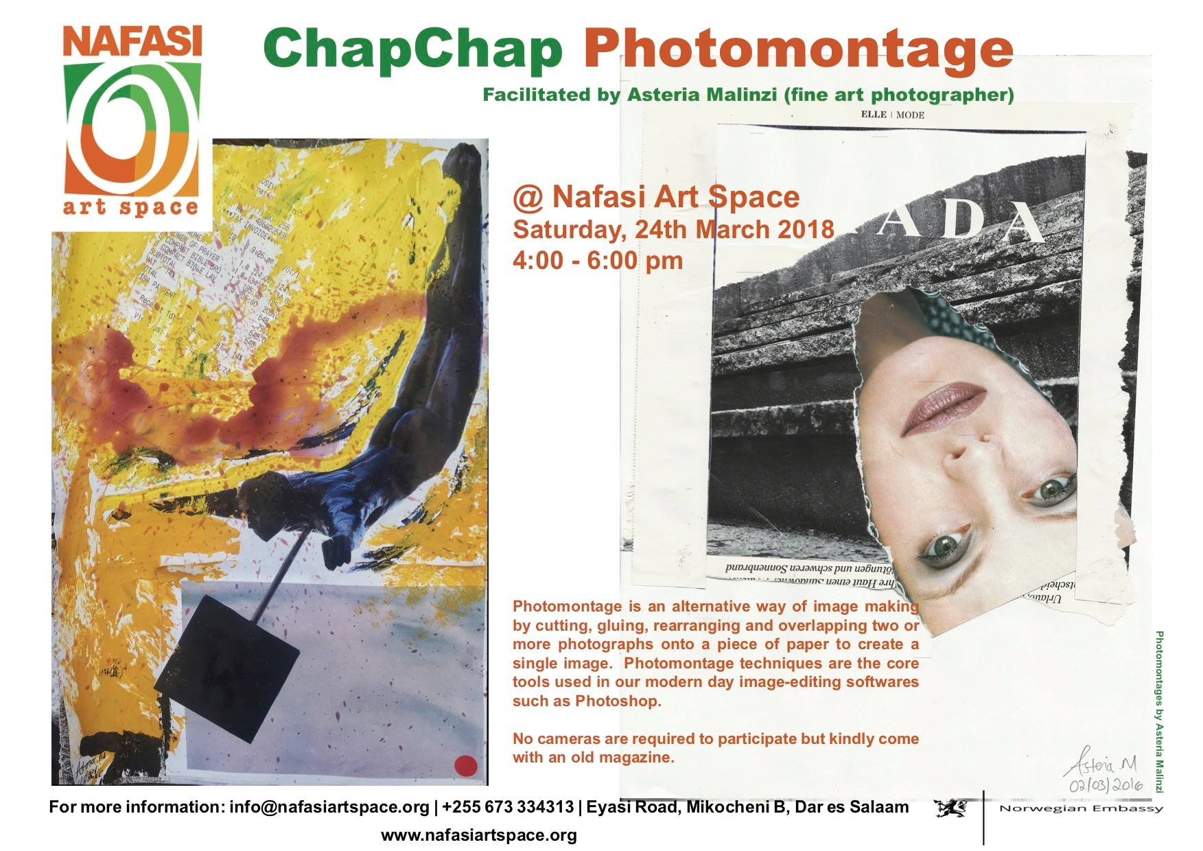 Poster for ChapChap Photomontage: Public Art Workshop at Nafasi Art Space