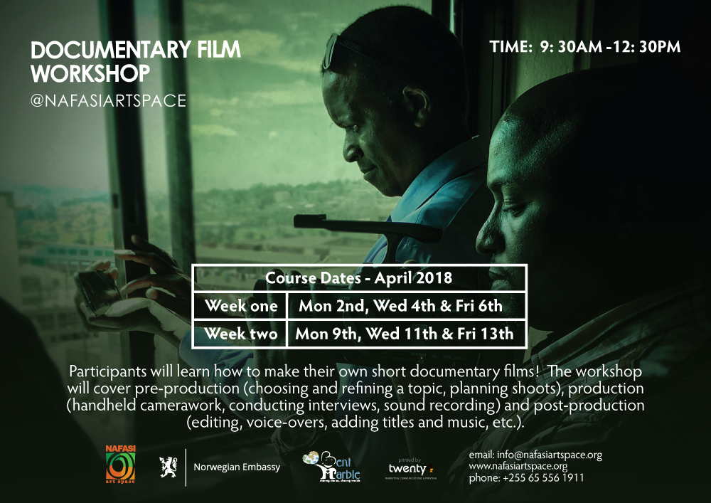 Poster Documentary Film Workshop by Bent Marble at Nafasi Art Space