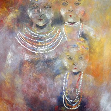 Aggrey Mwasha Family Acrylic on canvas 103 x 69 cm Price upon request