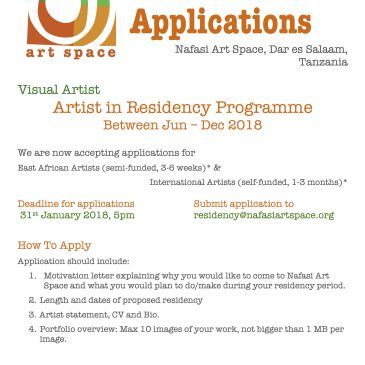 ARTIST IN RESIDENCY - CALL FOR APPLICATIONS