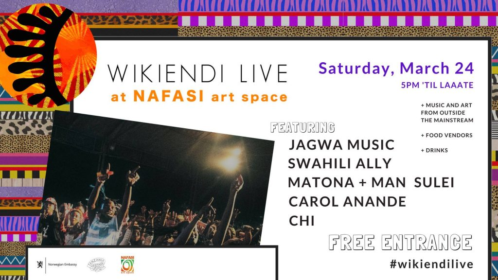 Poster Wikiendi LIVE ft. Jagwa, Swahili Ally, Matona + MORE at Nafasi Art Space
