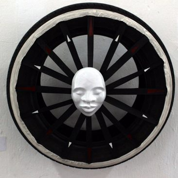 Aljosja Roels South is The Place Rubber, Plaster, Acrylic,Oils 50cm Diameter Tsh 500,000