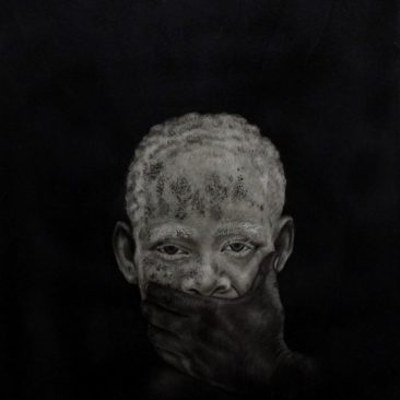 Steven Mchomvu The Eyes Of Grief Charcoal On Canvas 60cm by 80cm Tsh 1,000,000