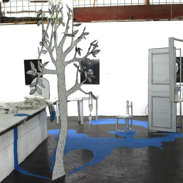 MakeFactory The Floating Home Paper,Cardboard,Paint and Cloth Installation 300cm x 400cm