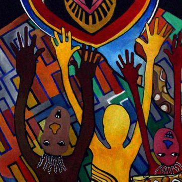 Mac Sawaya Tusamehe Makosa Yetu Acrylic On Canvas 42cm x 82cm