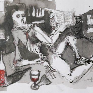 BUTCHECA Leitor feliz (happy reader) Acrylic on canvas 42cm-30cm USD 200