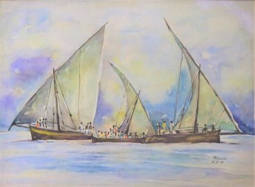 Raza Dhow and People on Coast Watercolor on paper 62 x 81cm 700USD