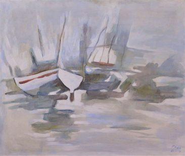 Raza Dhow at Dockyard Acrylic on Canvas 81 x 47 750 USD