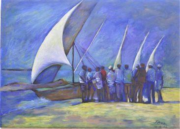 Raza Fish Auction Acrylic on Canvas 65 x 90 750 USD