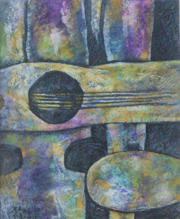 Raza Music Pastel on paper 61 x 54cm 300USD