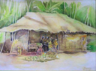 Raza Villagers of Zanzibar Watercolor on paper 62 x 82cm