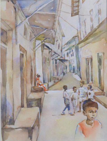 Raza Children of Zanzibar Watercolor on paper 53 x43cm 400USD