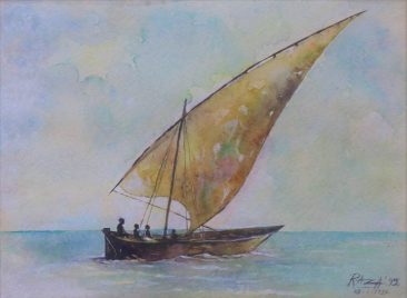 Raza Dhow Watercolor on paper 36 x 77cm 300USD