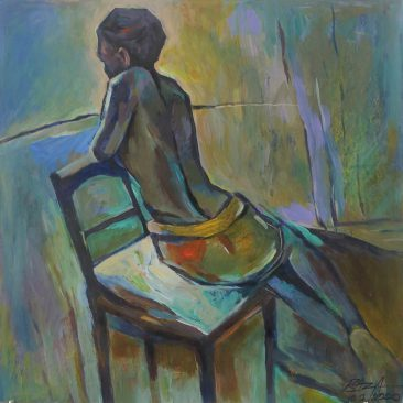 Seated Woman Acrylic on Canvas 80 x 67cm 200 USD