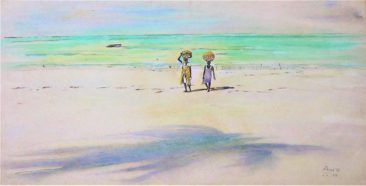 Seaweed Collectors Watercolor on Paper 81 x 47 400 USD