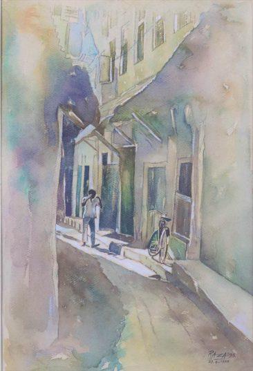 Walking Alone Stonetown Watercolor on paper 66 x 48cm 650 USD