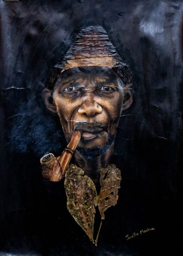 Kiko (pipe smoking) 86x61cm Mixed Media Jennifer Msekwa