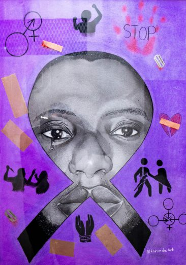 Purple Ribbon 86 x 61 cm Mixed Media Hussein Juma Karanda