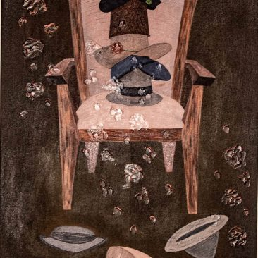 Chair 3 Mixed media on canvas 76 x 110cm 2020 Shiija Masele