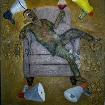 Chair 4 Mixed media on canvas 94 x 114cm 2020 Shiija Masele